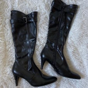 Faux leather high-heeled boots